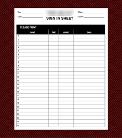Custom Designed Patient Sign In Sheet