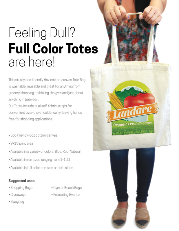 tote bags full color printing promotional products apparel